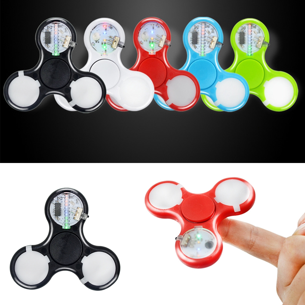 Newest Trendy Cool LED Light ABS Hand Spinner Tri Fidget EDC Toys for Men/Women Stress Relief ADHD