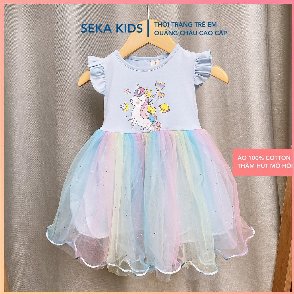 Váy công chúa cho bé gái, đầm trẻ em đẹp xinh hình Elsa ngựa Pony cầu vồng cho bé gái mùa hè SEKA KIDS 2104.03 CS118