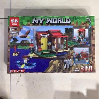 [ Luôn có sẵn] Lego my world lắp ráp ngôi nhà giữa đảo với thuyền và siêu nhân với 388 miếng ghép – đồ chơi xếp hình