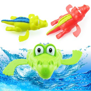 Creative Swimming Floating Carton Crocodile Bath Tub Wind Up Play Toy for Baby