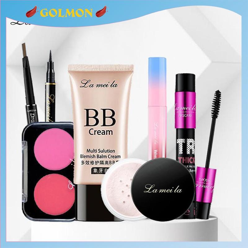 Bộ makeup nữ đầy đủ Lameila 7 món kem nền, phấn phủ, phấn má, kẻ mày, kẻ mắt, mascara, son kem lì BTD-L710