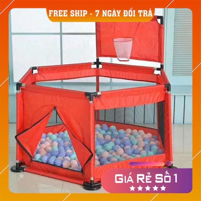 Cũi quây khung inox an toàn vui chơi cho bé kèm 10 bóng – GDTRONGL3