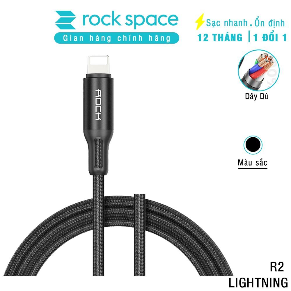 Cáp sạc cho iphone R2 Rockspace dây dù màu đen, độ dài 2m đầu kim loại, sạc nhanh cho iphone