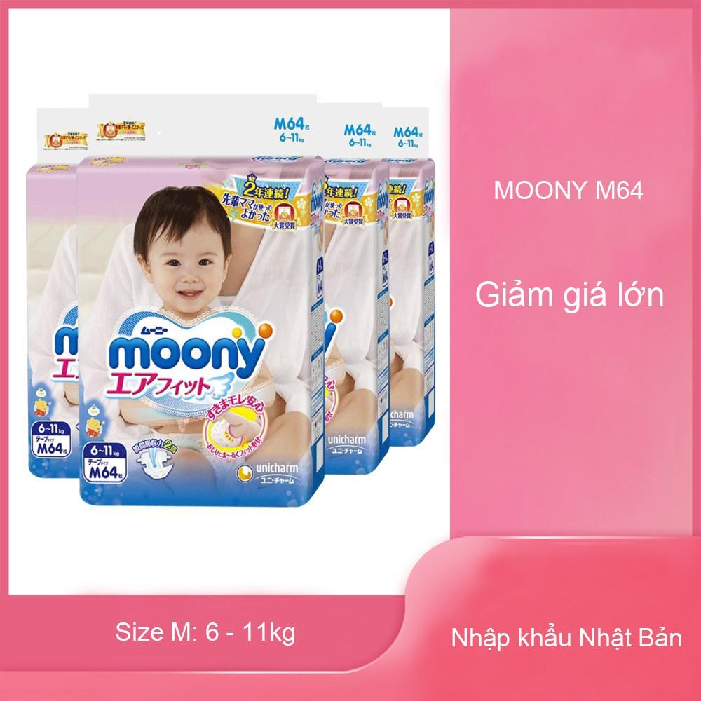 Tã/Bỉm Dán Moony M64 (Tã giấy Nhật Bản nhập khẩu)