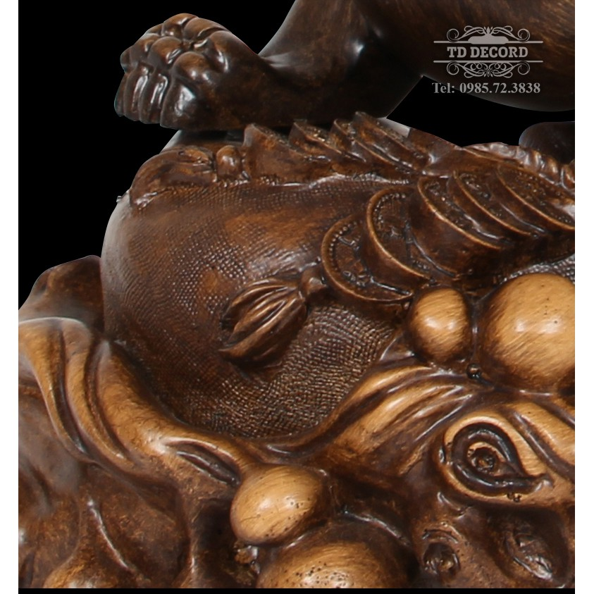 Tượng Tỳ Hưu Màu Gỗ Size 28x17x23, Tượng Phong Thủy Trang Trí, Vật Phẩm Phong Thủy