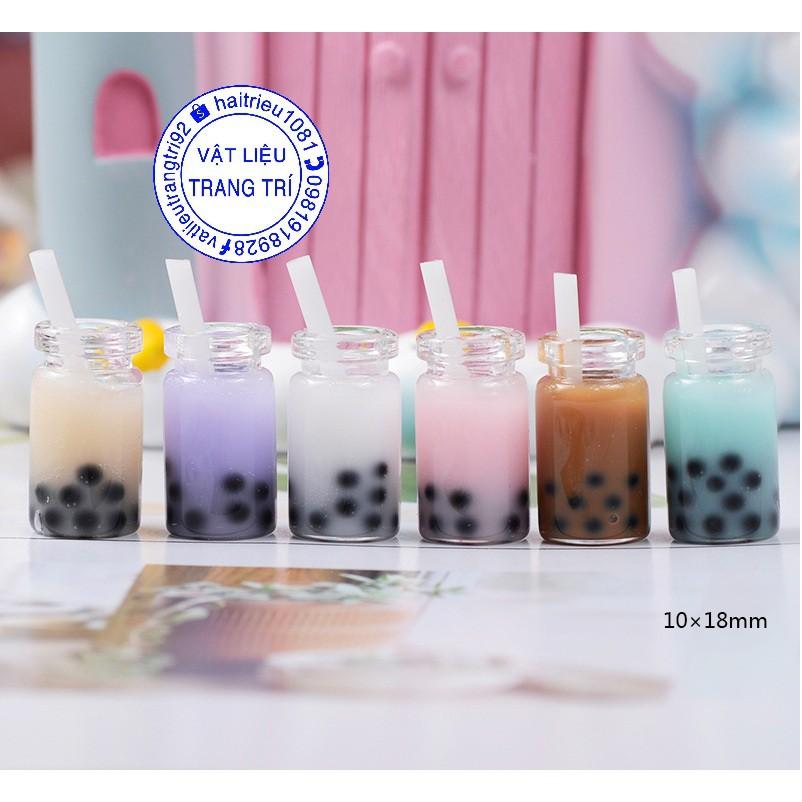 Mô hình ly trà sữa trân châu phụ kiện trang trí nhà búp bê, charm slime