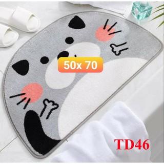 Thảm lông 5D lau chân cửa TD46 thảm nhà tắm, phòng ngủ lông dày dài siêu thấm mềm mại chống trượt in hình 5D sắc nét