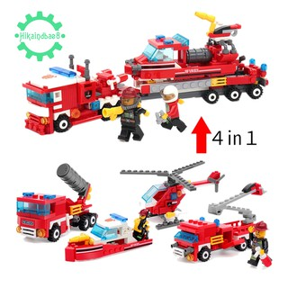 🌟348pcs Fire Fighting 4in1 Trucks Car Helicopter Boat Building Blocks