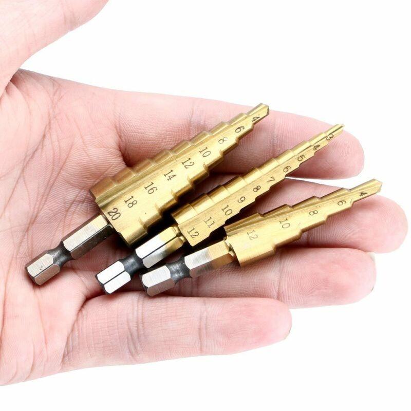 Bộ 4 Mũi Khoan Bước Thép Gió Hss 3-12mm 4-12m 4-20mm 4-32mm & 1 Phụ Kiện