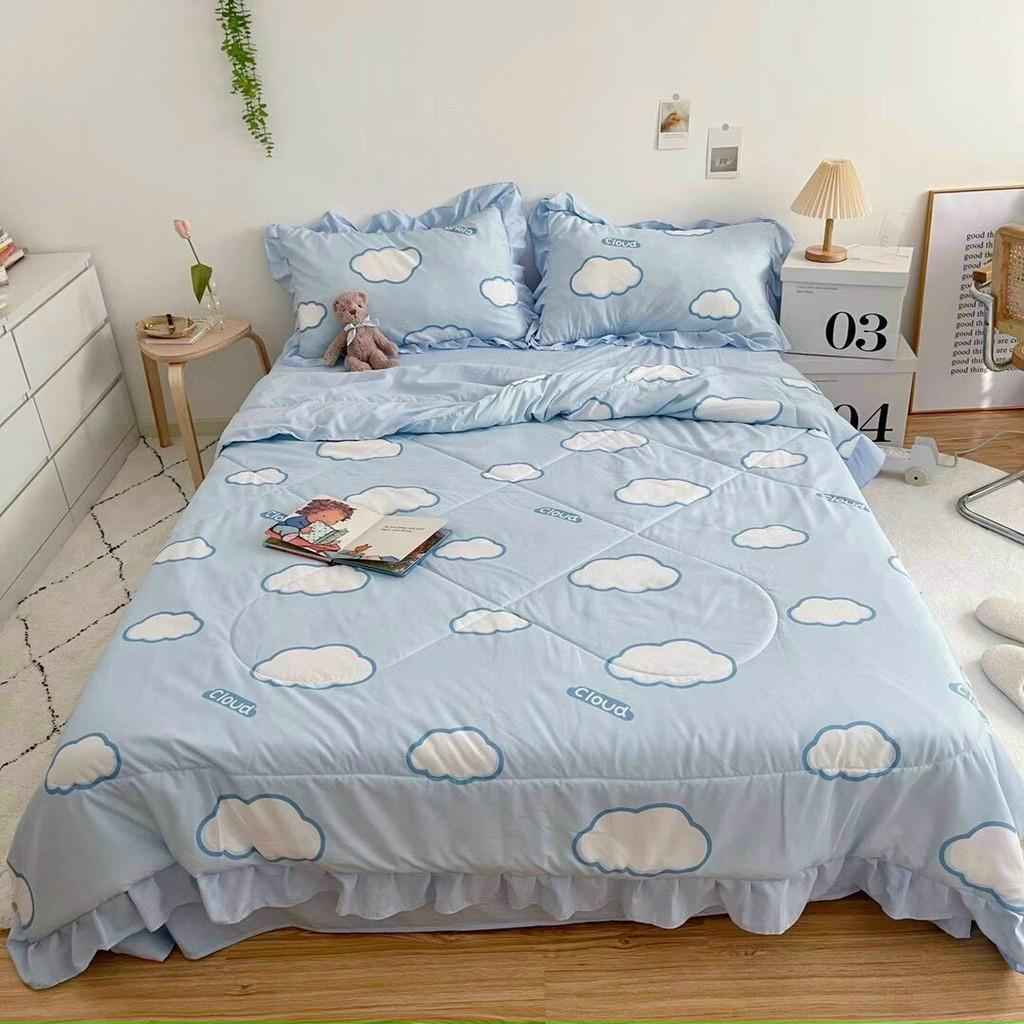 Bộ chăn ga gối drap giường nhập khẩu cao cấp chất vải đũi viền bèo - Chăn hè trần bông họa tiết mây trắng