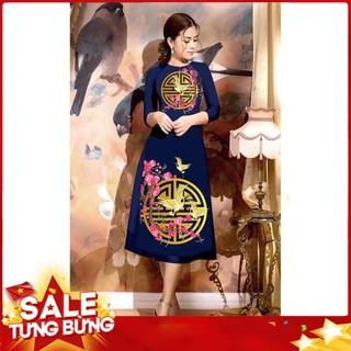 áo dài cách tân in họa tiết TRỐNG ĐỒNG cao cấp – KHÔNG KÈM VÁY