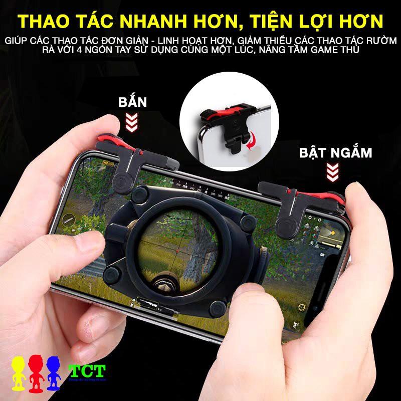 Bộ phụ kiện chơi game điện thoại D9 editon 1 bộ nút bắn, 1 cặp bao tay, 1 tai nghe dành cho tựa game bắn súng