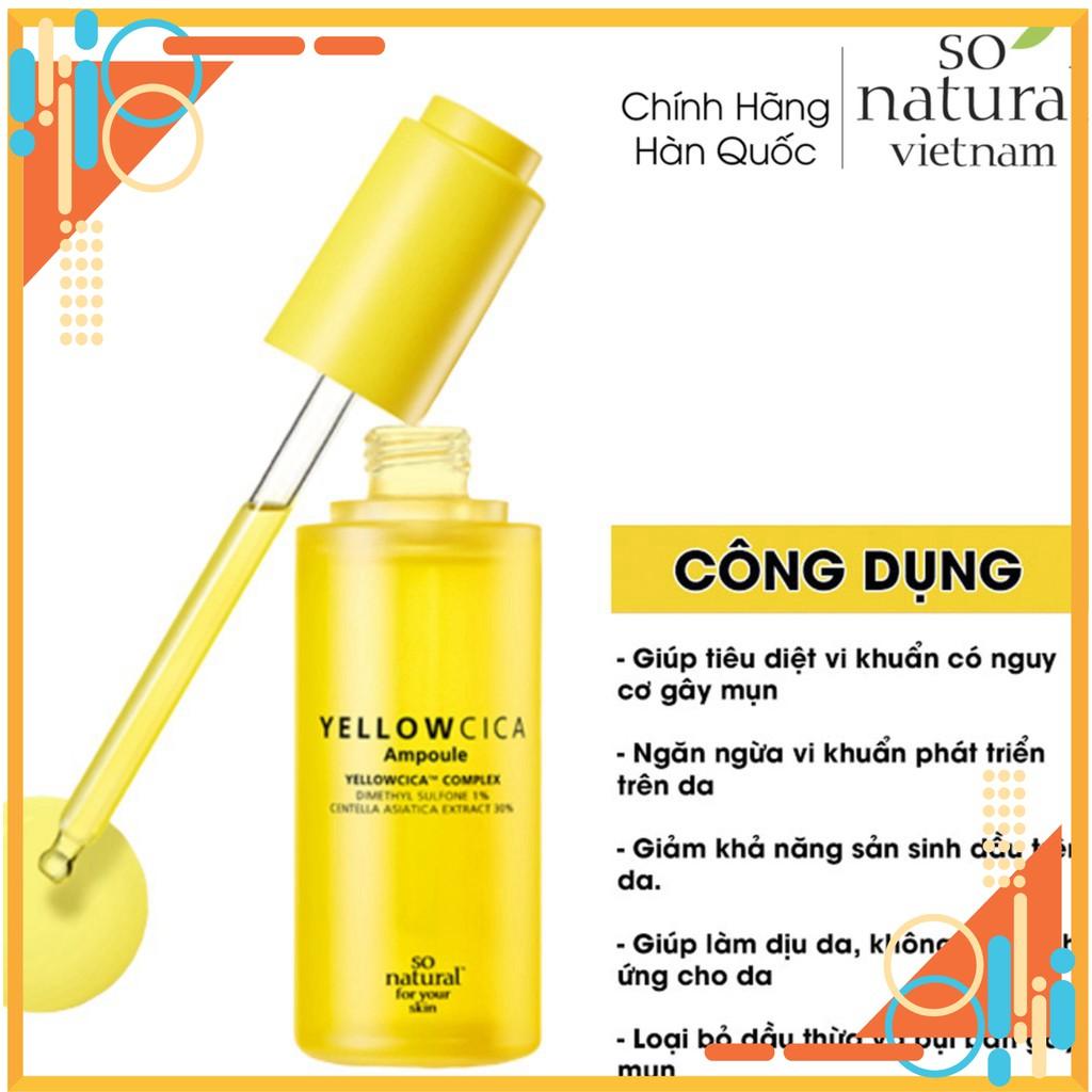 Yellow Cica Ampoule Serum Ngăn ngừa Mụn,Giảm Thâm Dành Cho Mọi Loại Da So Natural Nhập Khẩu  Hàn Quốc Chuẩn giá rẻ