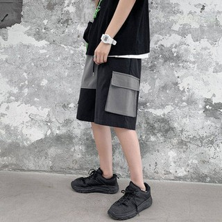 Quần short nam quần yếm ống rộng phong cách hàn quốc