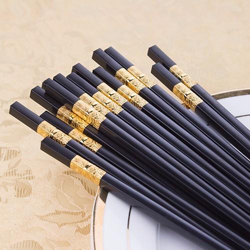 Combo 2 hộp (20 đôi )đũa sừng chống mốc viền mạ
