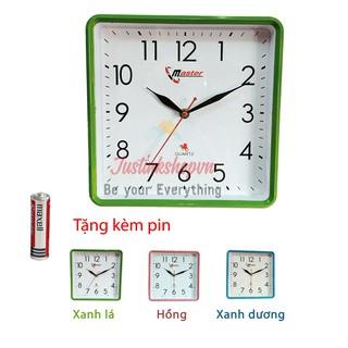 Đồng hồ treo tường trang trí kiểu đẹp hiện đai Master kim giật mặt vuông giá rẻ nhất HD14 (nhiều màu)-NQL-DHTT-HD14-Xala