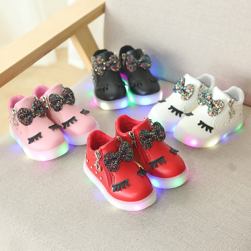 Baby Girl Fashion LED Lights Soft Casual Sports Walking Shoes