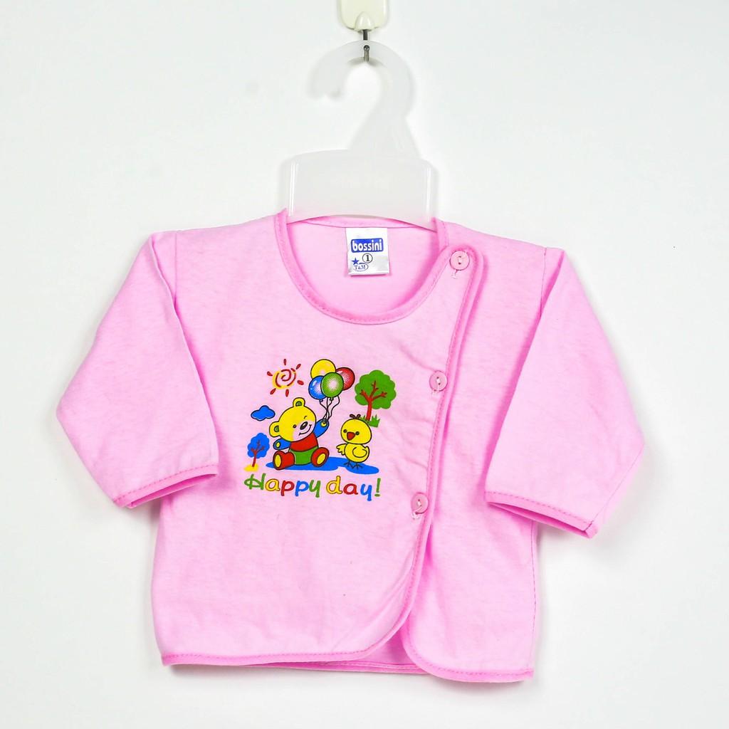 Bộ 5 Áo sơ sinh màu tay dài cúc lệch Bosini cho bé từ sơ sinh đến 11kg