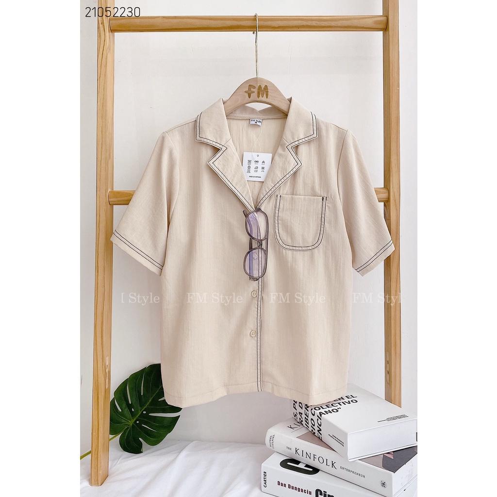 Mặc gì đẹp: Phong cách với Áo sơ mi nữ FM Style kiểu công sở form rộng tay ngắn vải cotton cao cấp họa tiết chỉ nổi ulzzang 21052230
