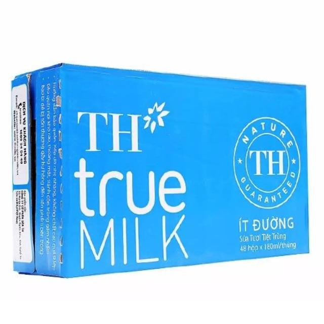 Thùng 12lóc sữa tươi TH true milk ít đường 180ml