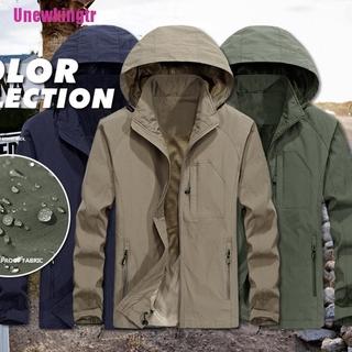 [Unewkingtr] Mens Windproof Waterproof Jacket Outdoor Hiking Hooded Rain Mac Coat Outwear