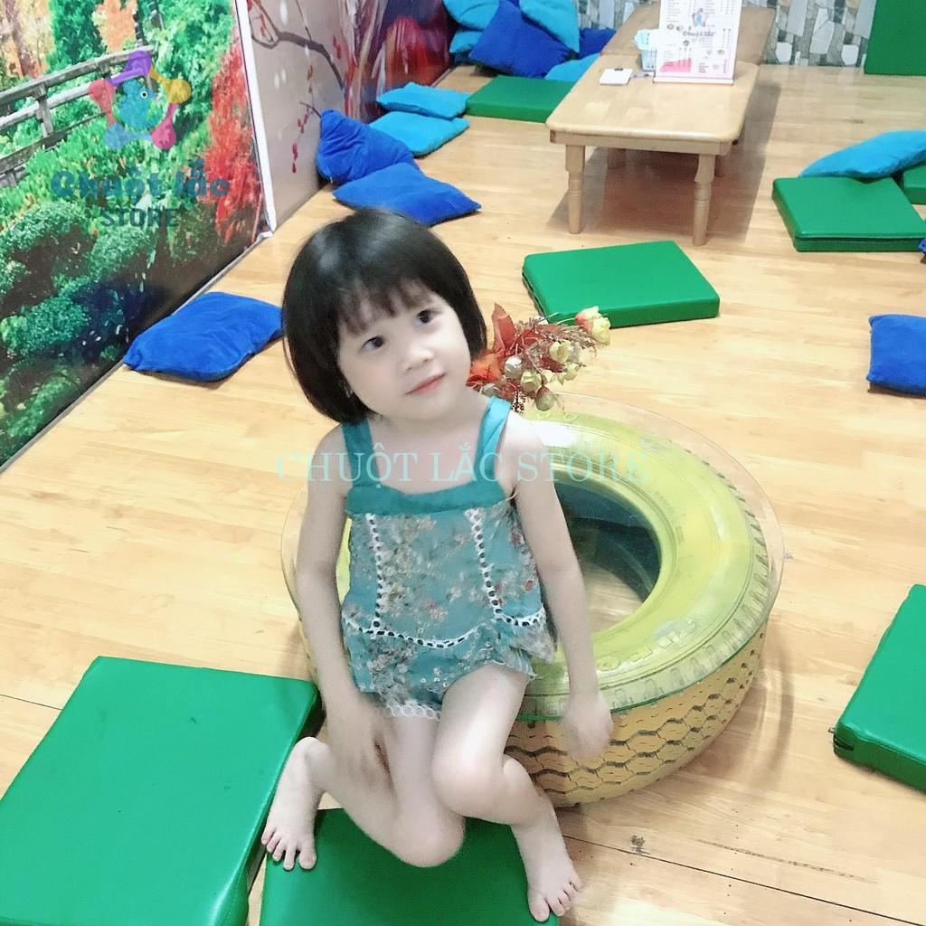 Bộ quần áo bé gái 2 dây chất voan lụa thêu ren cực xinh cho bé từ 8kg đến 20kg( màu xanh, kem)