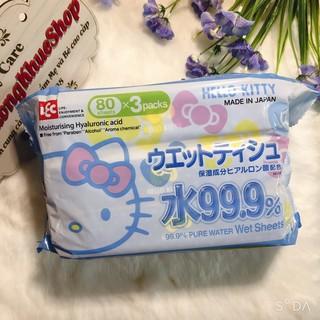 Combo 3 bịch Khăn ướt Lec Hello Kitty 80 tờ – Nhật