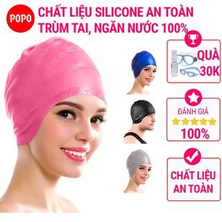Mũ bơi người lớn chất liệu silicone cao cấp POPO dùng được cho nam, nữ ngăn nước, trùm được búi tóc dài