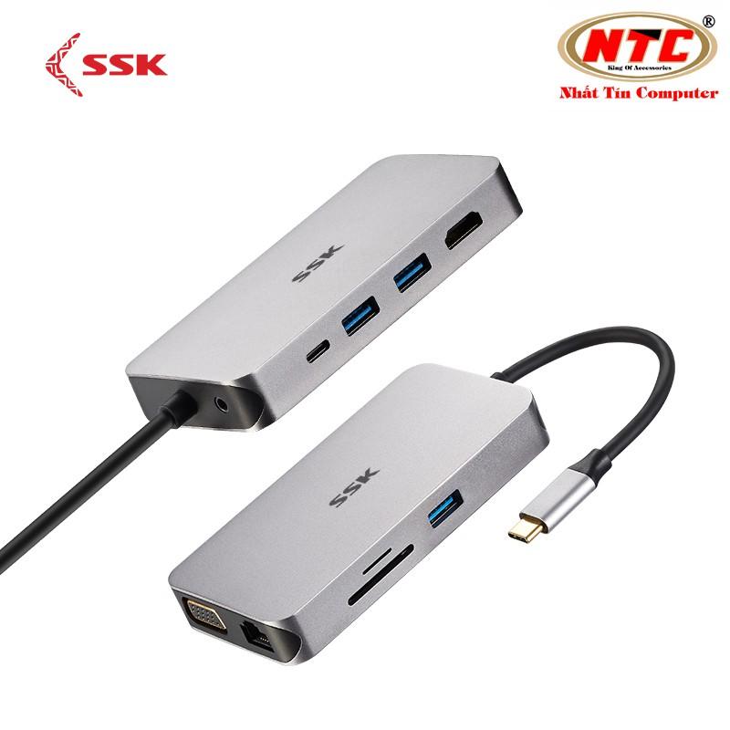 Bộ hub đa năng cổng TypeC ra USB 3.0/Thẻ nhớ/LAN SSK SHU-C520 kèm chức năng xuất HDMI/VGA (bạc) - 2543742 , 1312776985 , 322_1312776985 , 1600000 , Bo-hub-da-nang-cong-TypeC-ra-USB-3.0-The-nho-LAN-SSK-SHU-C520-kem-chuc-nang-xuat-HDMI-VGA-bac-322_1312776985 , shopee.vn , Bộ hub đa năng cổng TypeC ra USB 3.0/Thẻ nhớ/LAN SSK SHU-C520 kèm chức năng x