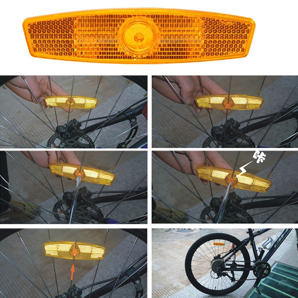 Bicycle Wheel Reflector Safety Spoke Reflective Mount Vintage Clip Warning Light Bike