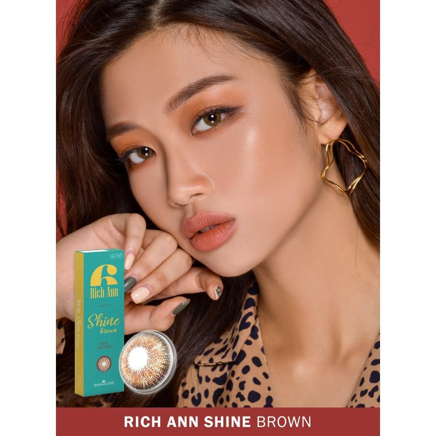[Hàn Quốc chính hãng] Lens Mắt Hàn Quốc 1 Ngày Rich Ann Shine Brown, Kính áp tròng Màu Nâu Sáng...