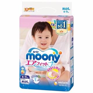 Bỉm moony tã dán cho bé size S84, M64, M58 quần, L54