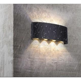 Đèn gắn tường ngoài trời, trong nhà hắt sáng 2 đầu 8 tia thân cong tròn hiện đại