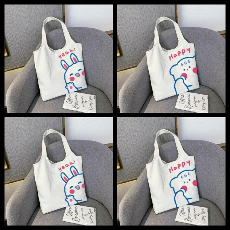 Túi đeo vai đi làm, đi học đẹp giá rẻ (VẢI CANVAS MỀM - FORM TO - 2 LỚP - QUAI LIỀN) - GẤU THỎ