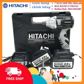 [Chính Hãng] Máy siết bulong Hitachi 88V 2 pin 15000mAh, không chổi than, đầu 2 trong 1 – KÈM PHỤ BỘ PHỤ KIỆN -Xịn