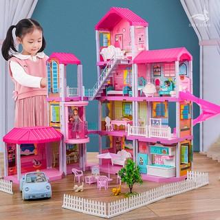 Nhà búp bê Barbie, nhà búp bê cỡ lớn Quà tặng sinh nhật cho bé gái Tặng hai búp bê, Nhà biệt thự búp bê đủ nội thất thumbnail