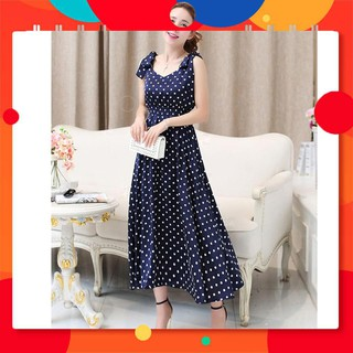 [Cao cấp] Đầm Maxi Chấm Bi Nơ Vai H1539