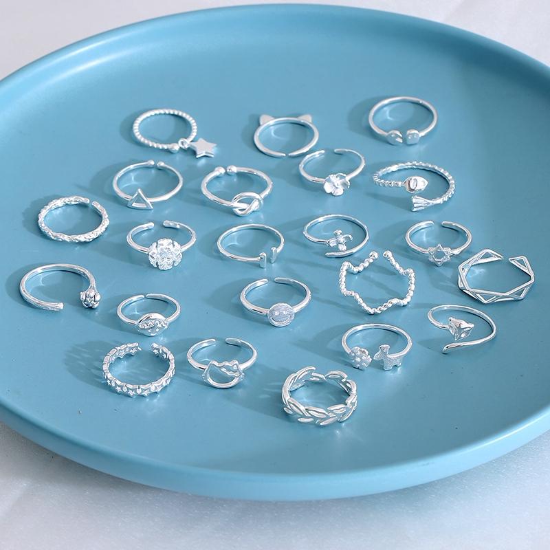 Nhẫn kim loại màu bạc thiết kế dạng mở có thể điều chỉnh phong cách thời trang Hàn Quốc dành cho nữ