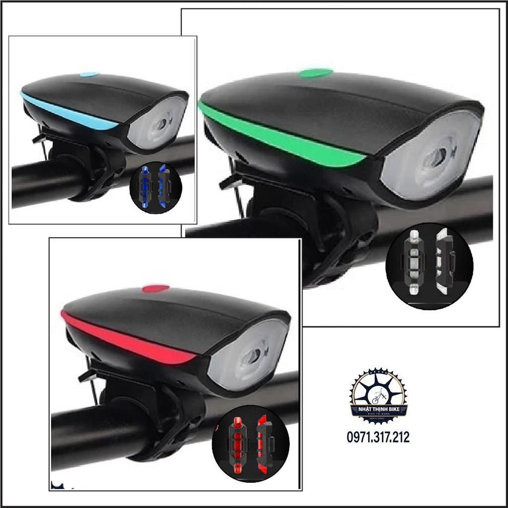 Đèn xe đạp, đèn pin xe đạp, đèn pha xe đạp kiêm còi sạc USB 5 chế độ còi điện