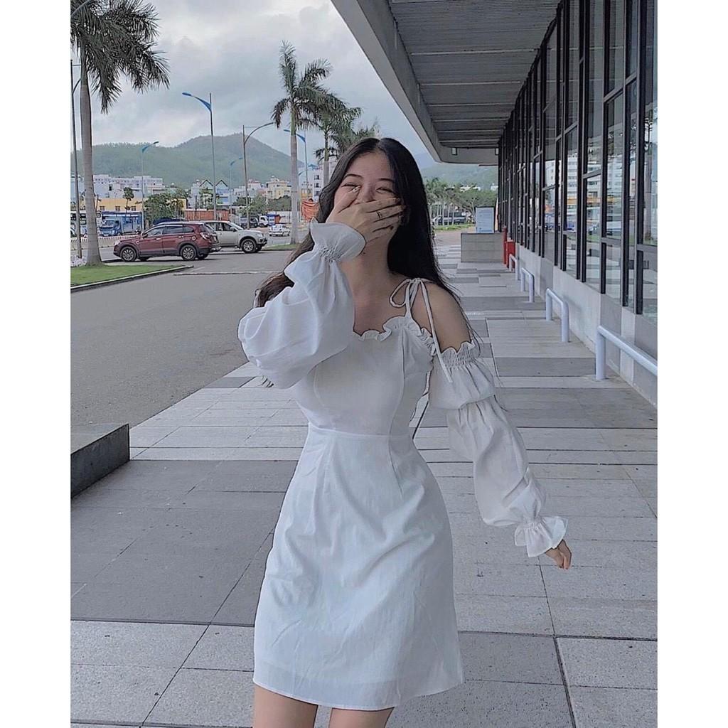 [Mã WASEPRN hoàn 20% xu đơn 99k] Váy đầm nữ trắng tinh khôi hai dây tay phồng màu trắng