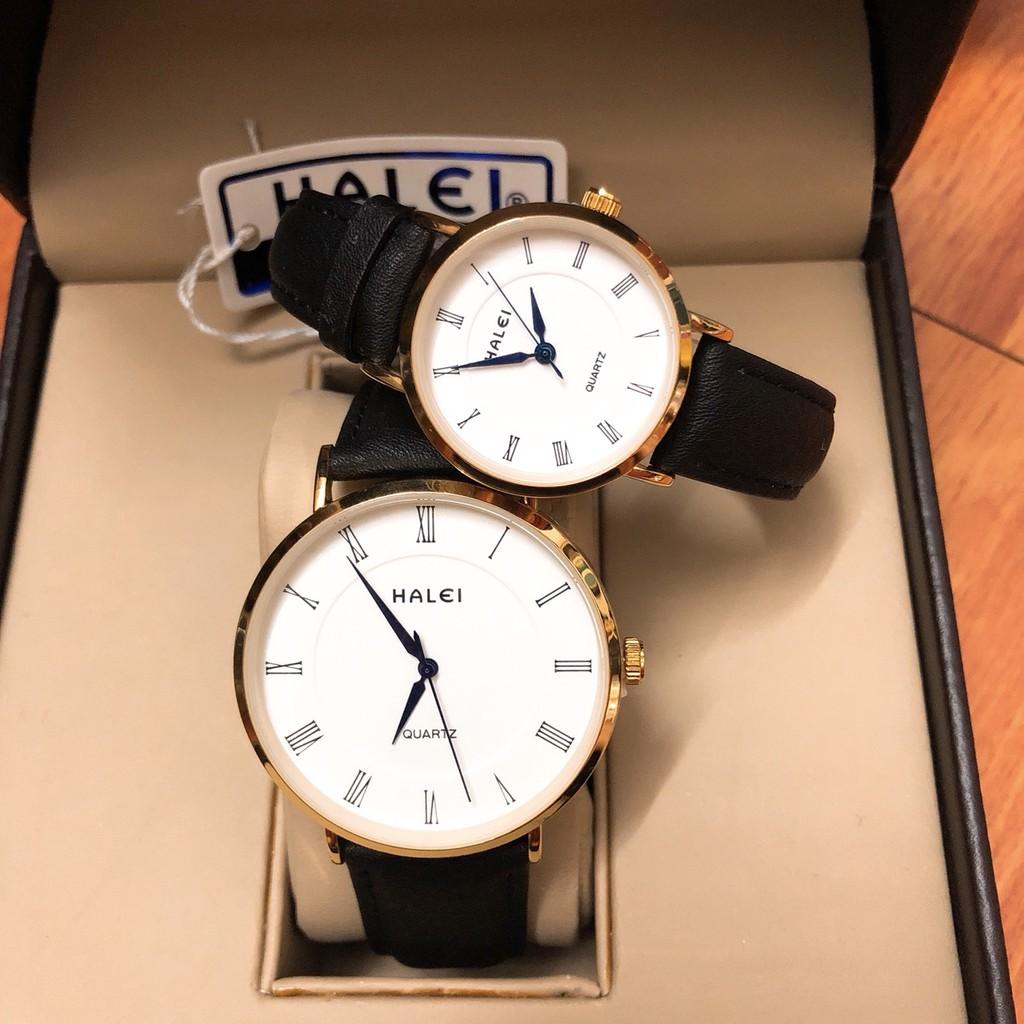 Đồng hồ cặp nam nữ Halei máy Nhật chính hãng dây da cao cấp mặt tròn 40mm 28mm chống gỉ chống xước, chống nước tuyệt đối