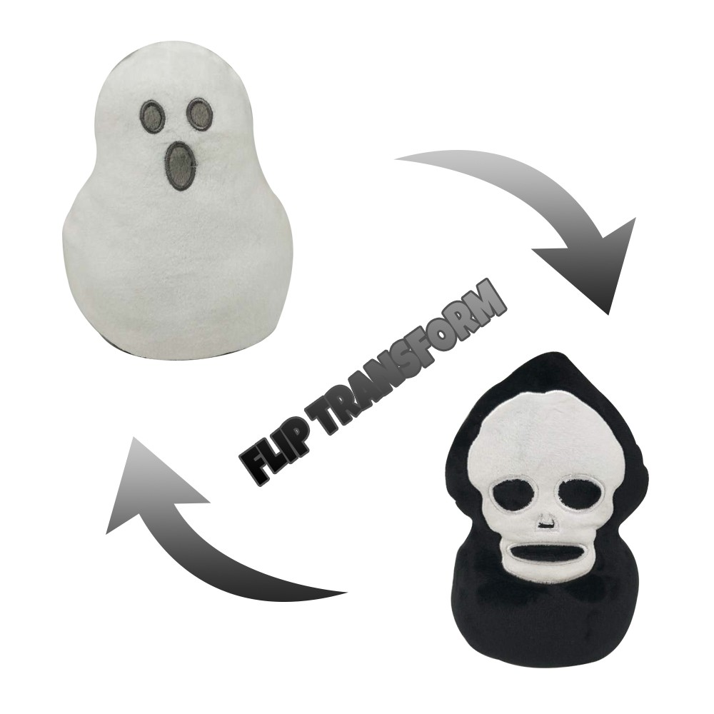 Ghost Doll Double-sided Flip Halloween Ghost Plush Doll Halloween Decor Kid Toy Gift 『Zeer 』