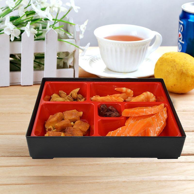 Hộp đựng cơm BENTO nhựa đựng cơm phần 4 ngăn màu đỏ đen kiểu Nhật Bản Hộp đựng thức ăn