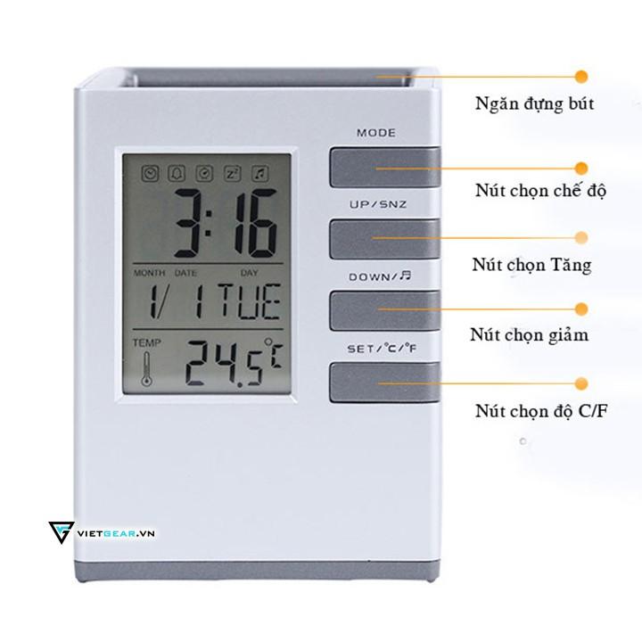 Đồng hồ cốc điện tử, đo nhiệt độ phòng, báo thức