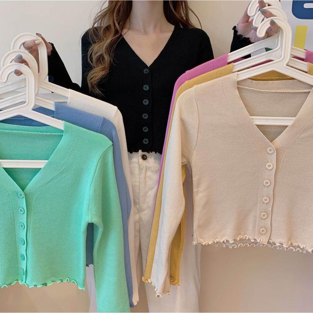 Áo dệt kim ngắn tay cổ chữ V phong cách thời trang cho nữ