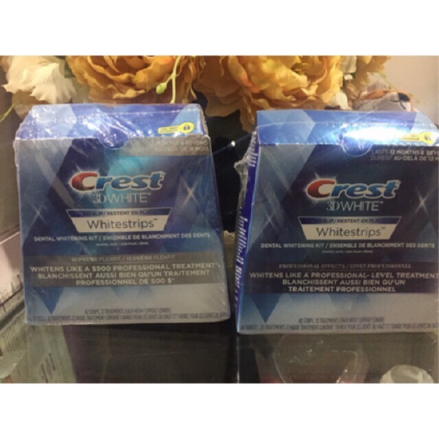 Miếng dán trắng răng (1 gói tách hộp) Crest 3D White hàng Mỹ chính hãng