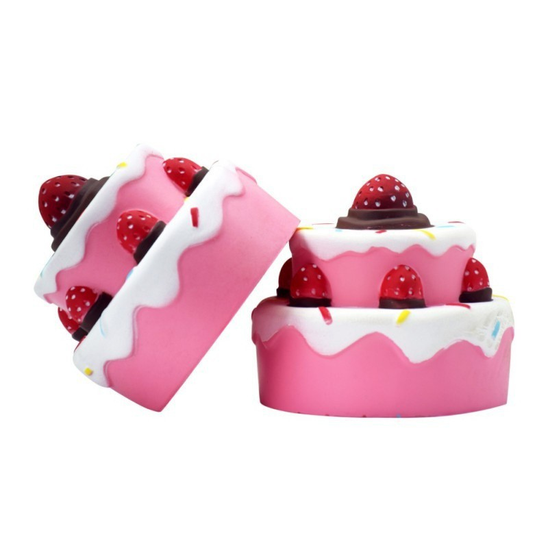 BOBORA Supper Kawaii Soft Cheap Slowing Squishy 2-Layer Strawberry Cake Pink Jumbo Toy for Relieves Stress