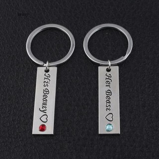 ★1 Pair Letters Rhinestone Metal Keyring Couple Key Chain Valentine's Day Gift