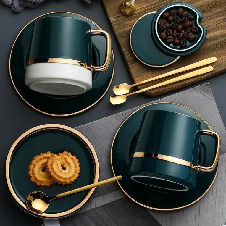 Cốc cà phê sứ phong cách Bắc Âu tặng kèm đĩa sứ xanh, thìa inox 304 mạ vàng QHMC