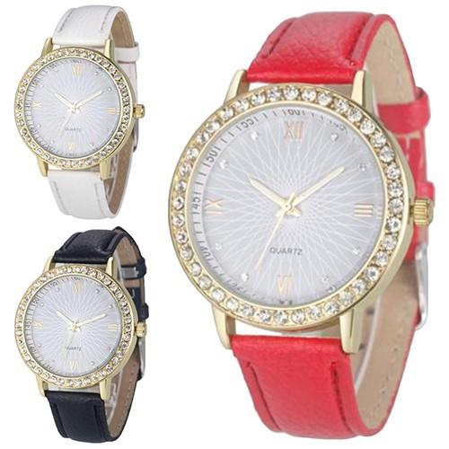 Đồng hồ số La Mã dây giả da đính đá lắp lánh cho nữ